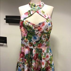 Floral twist halter swing dress